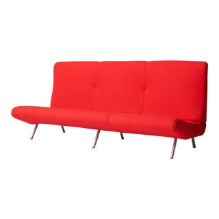 Marco zanuso sofa in cherry red wool For Sale