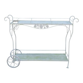 Woodard Vintage Wrought Iron Patio Serving Bar Cart For Sale
