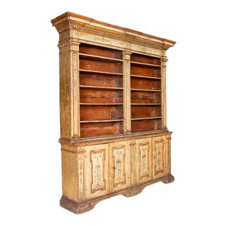 Rare Antique Original Painted Large Bookcase Display Cabinet, Italy Circa 1780-1800 For Sale