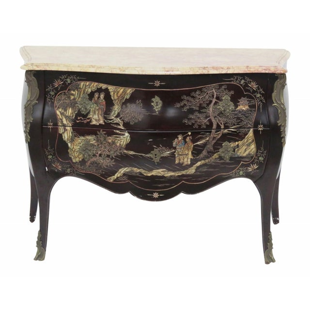 French Chinoiserie Marble Top Commode - Image 1 of 7