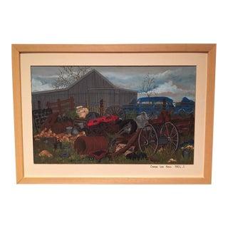 Farm Scene Acrylic Gouache Painting on Board For Sale