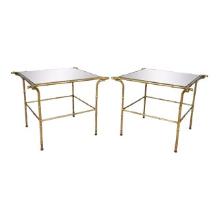 Pair Vintage Italian Hollywood Regency Faux Bamboo Gold Gilt Mirror Side Tables For Sale