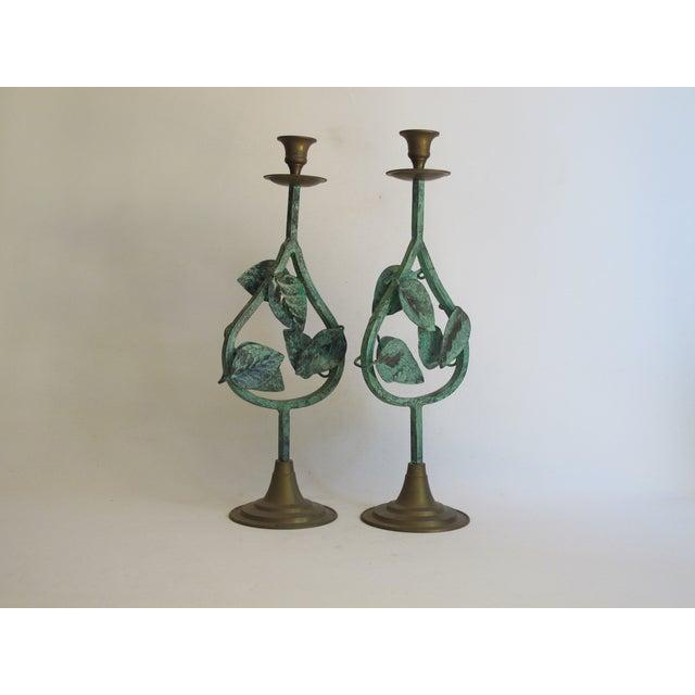 Verdigris Leaf Candleholders - Pair - Image 4 of 6