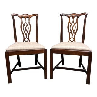 Hickory Chair Solid Mahogany Chippendale Straight Leg Dining Side Chairs - Pair 2