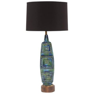 Lovely Large-Scale Glazed Ceramic Italian Lamp For Sale