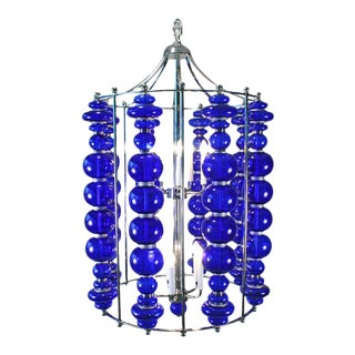 1990s Mid Century Modern Cobalt Blue Glass Chandelier Hi-Polished Nickel For Sale