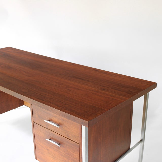 1950s 1950s Mid Century Modern Florence Knoll Style Walnut and Cane Desk For Sale - Image 5 of 13