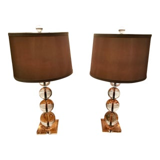 Modern Stacked Crystal Spheres Table Lamps - a Pair For Sale