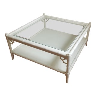 1970s Hollywood Regency Thomasville Square Bamboo Coffee Table For Sale