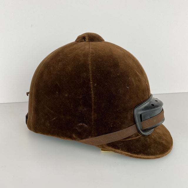 Vintage Brown Velvet English Riding Helmet For Sale In Minneapolis - Image 6 of 6