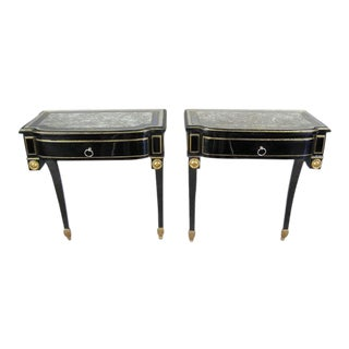 French Ebonized and 'Verre Eglomise' Console / Nightstand by Maison Jansen