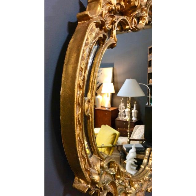 Metal Large Vintage Gold Mirror For Sale - Image 7 of 8