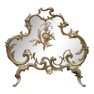 French Louis XV Style Bronze Fire Screen For Sale