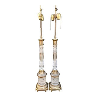 Pair of Warren Kessler Signed Baccarat Style Bronze Column Form Table Lamps For Sale