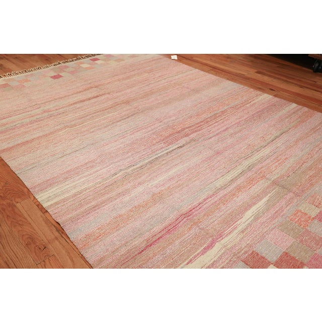 Art Deco Vintage Scandinavian Art Deco Flat Carpet - 7′3″ × 10′8″ For Sale - Image 3 of 10