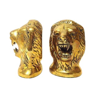 Vintage Brass Roaring Lions Head Bookends - A Pair For Sale