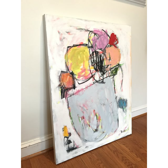 Acrylic, Pastel and Graphite on Canvas. Simple shapes and colors suggestive of a vase of flowers, on top a complex base of...