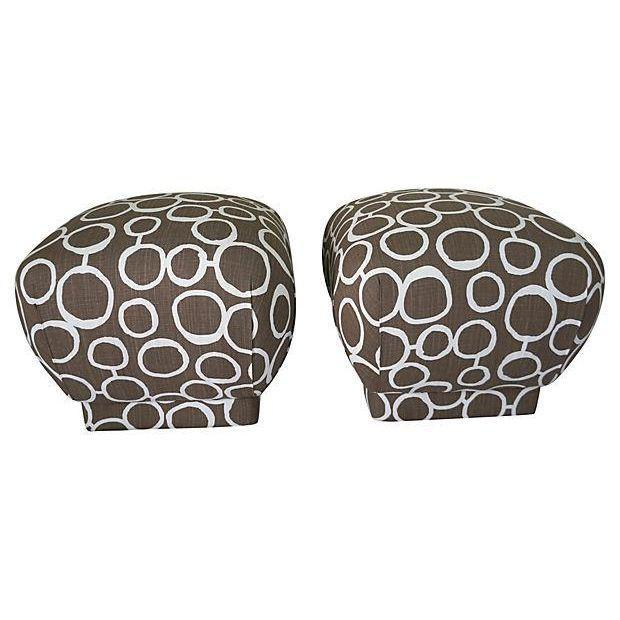 Vintage Brown & White Pouf Ottomans - A Pair - Image 2 of 4