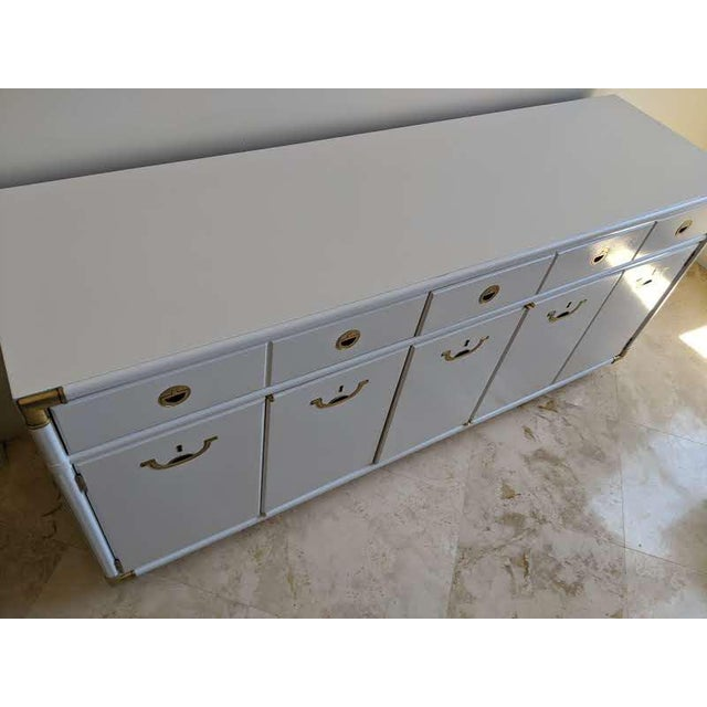 Metal 1970s Campaign Drexel Accolade White Credenza For Sale - Image 7 of 11