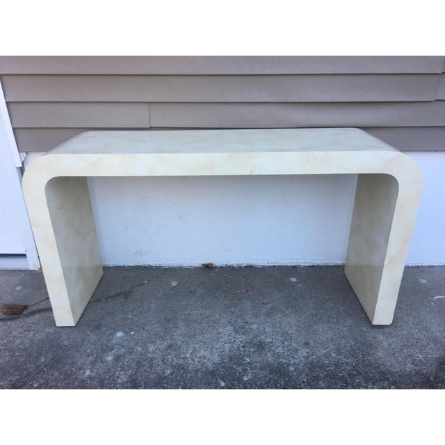 1980s Contemporary Goat Skin Waterfall Console Table For Sale - Image 9 of 11