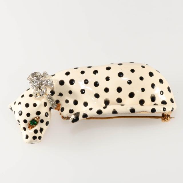 Kenneth Jay Lane Enameled Snow Leopard Big Cat Shoulder Brooch For Sale In Austin - Image 6 of 6