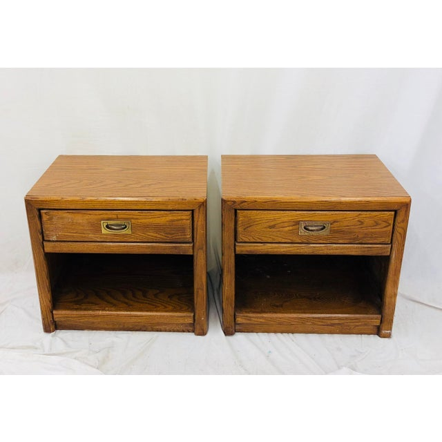 Campaign Pair Vintage Campaign Style Side Tables For Sale - Image 3 of 13