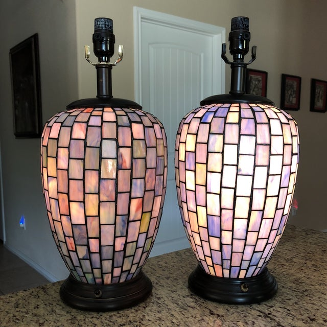 These lamps are modern and the bases completely light up too. Made of a stained glass material both lamps are in perfect...