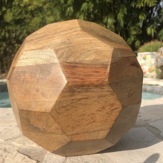 2000 - 2009 Modern Organic Faceted Geometric Wood Sculptural Orb For Sale - Image 5 of 8