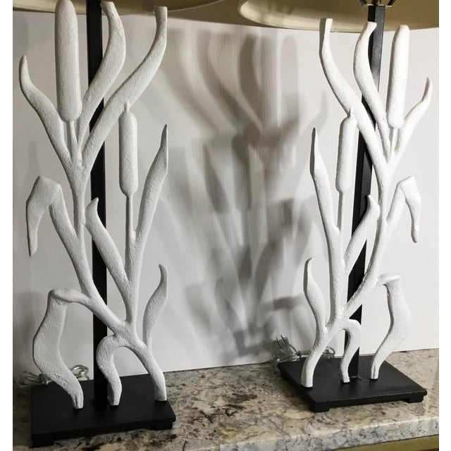 Abstract Abstract Cattail Iron Table Lamps - a Pair For Sale - Image 3 of 12
