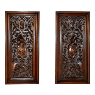 Late 19th Century Carved Panels - a Pair For Sale