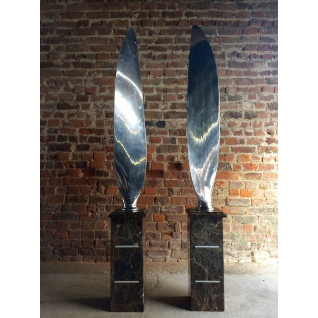 Silver Tall Polished Chrome Airplane Propeller Blades Sculptures - A Pair For Sale - Image 8 of 11