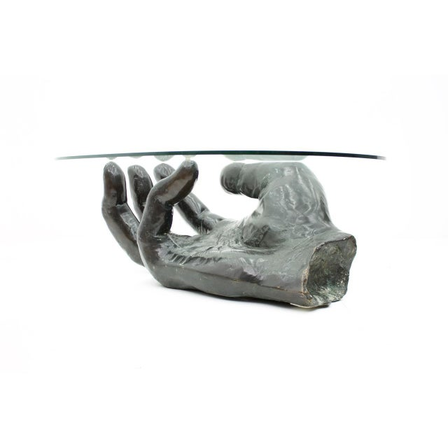 Sculptural Bronze Coffee Table in Form of a Hand Italy 1970s For Sale - Image 13 of 13