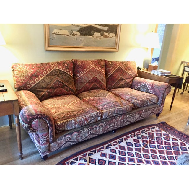 2000s George Smith 8-Foot Kilim Sofa For Sale - Image 5 of 12