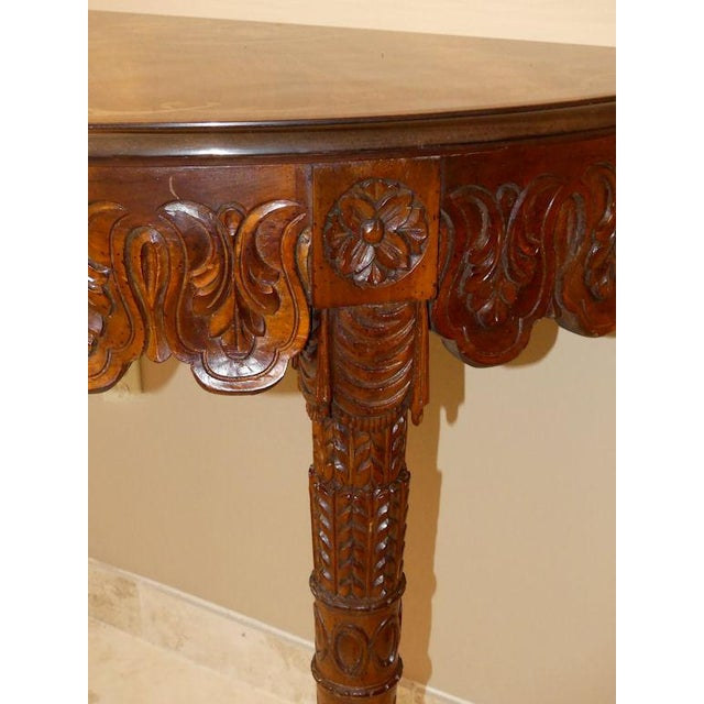 Italian Italian Hand Carved Inlaid Wood Demilune Console Table For Sale - Image 3 of 13
