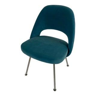 Saarinen Peacock Blue Velvet Executive Armless Chair For Sale