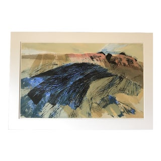 Mid Century Abstract Desert Serigraph For Sale