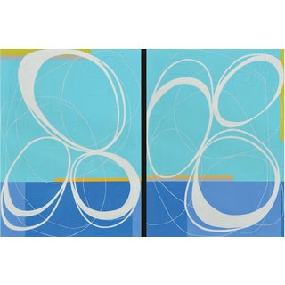 Maura Segal Bicycle 1 & 2 Abstract Blue Mid Century Modern Style 2018 For Sale
