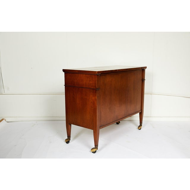 Regency Midcentury Convertible Rolling Barcart Server by Mount Airy Furniture For Sale - Image 3 of 5