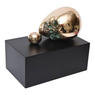 Polished Bronze Skull Head and Apple Sculpture For Sale
