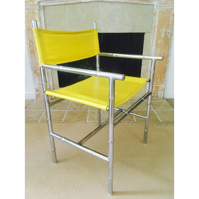 Mid-Century Chrome Arm Chair in Yellow - Image 3 of 8