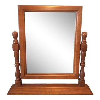 Vintage Wood Dresser / Vanity Top Swivel Mirror For Sale