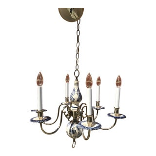 Mid 20th Century Delft 6-Arm Chandelier For Sale