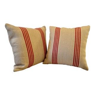 """Ralph Lauren Driftwood Striped Barn Linen / Jute 22"""" Pillow Covers - A Pair For Sale"""