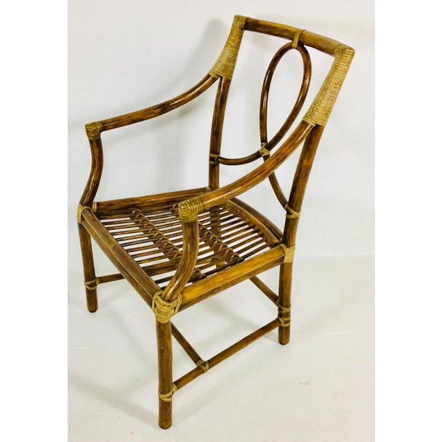 1980s Mid-Century Modern McGuire Rattan Dining Arm Chairs - Set of 6 For Sale In Philadelphia - Image 6 of 13