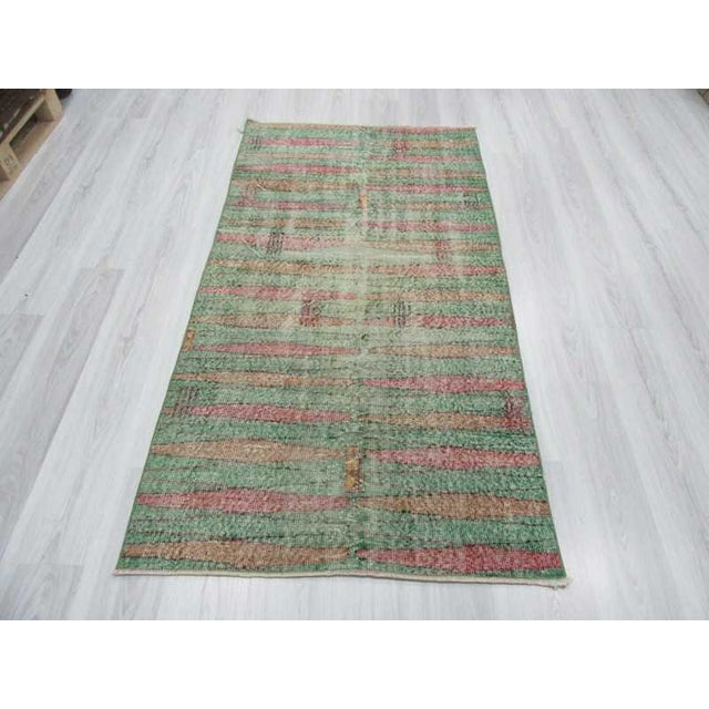 Distressed Vintage Turkish Art Deco Style Green Rug - 3′5″ × 6′5″ - Image 3 of 6