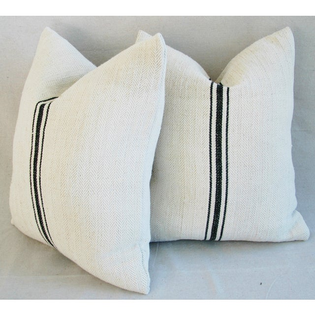 French Grain Sack Down & Feather Pillows - A Pair - Image 10 of 10