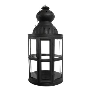 Iron & Glass Window Lantern For Sale