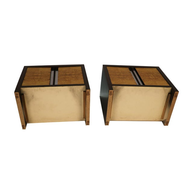 Pair Mid Century Milo Baughman Style Burl Nightstands Tables For Sale - Image 10 of 11