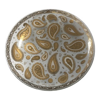 1970s Round Glass Platter by Georges Briard With Paisley Motifs For Sale