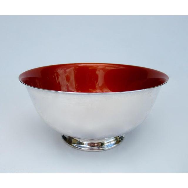 Vinatge: C.1960s-70s, Original Reed & Barton Silversmith Co., Paul Revere bowl with vibrant tangerine orange enameled...
